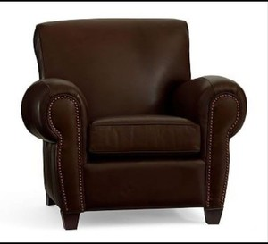 Manhattan Poly Leather Recliner W/NH Bronze Signature Whiskey