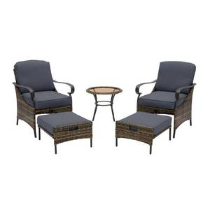 Hampton Bay Layton Pointe 5-Piece Brown Wicker Outdoor Patio Conversation Seating Set with Standard Sky Blue Cushions
