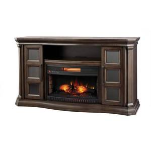 Home Decorators Collection Park Canyon 59.75 in. Bow Front Electric Fireplace TV Stand Infrared in Twilight