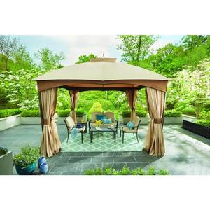 Hampton Bay 10 ft. x 12 ft. Turnberry Outdoor Patio Gazebo with Mosquito Netting and Private Curtain, Browns / Tans