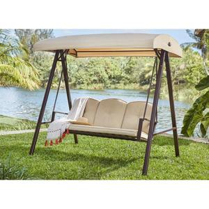 Cunningham 3-Person Metal Outdoor Patio Swing with Canopy by Hampton Bay