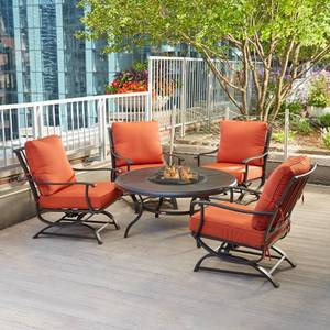 Redwood Valley 5-Piece Metal Patio Fire Pit Seating Set with Quarry Red Cushions by Hampton Bay