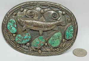 Handmade Fish Belt Buckle - Believed to Be Turquoise & Silver - Please come to inspection to verify.