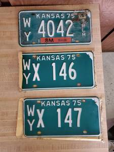 Lot of 3 KS Licence Plates 1975 & 1976