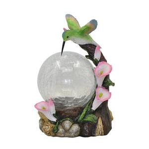Moonrays 92365 Hummingbird Globe Garden Statue with Solar Powered Color-Changing LED Light, Multicolor