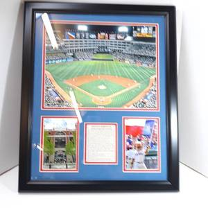 Texas Rangers Baseball Stadium Poster Wall Art Decor Framed Print | 23 x 29 | First MLB Night Game Arlington Field & Ballpark | Aerial Posters & Pictures | Gifts for Guys & Girls College Bedroom Walls