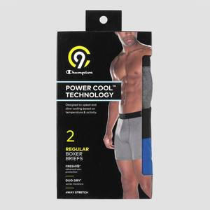 Men's Powercool Stretch 2pk Boxer Briefs - C9 Champion Gray/Blue, Size: Small