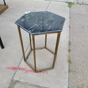 Marvel end table black and white with with brass legs hexagon shape