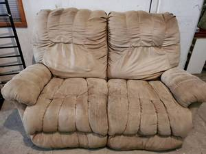 DOUBLE Beige Fluffy Recliner