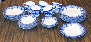 "46 Piece Antique JOHNSON BROTHERS Blue Flow ""Jewel"" Pattern China Set"