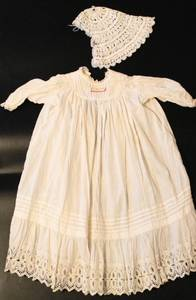 Antique Baptismal Christening Gown Dress with Crochet Cap from 1912