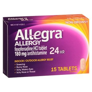 Allegra 24 Hour Allergy Relief Antihistamine Tablets, 15ct