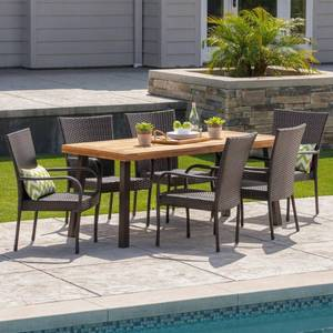Sutton Outdoor 3 Piece Acacia Wood/ Wicker Dining chair Set by Christopher Knight Home Retail: $954.49