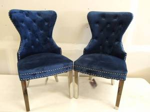 **Set of 2** Best Quality Furniture (SC46) Velvet Upholstored-Fufted Side Chairs with Stainless Steel Legs & Ring Handle
