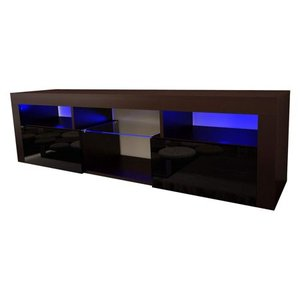 "Wall Mounted Floating 63"" TV Stand With 16 Color LEDs - Black"