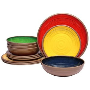 Melange Clay Melamine 12 Piece Dinnerware Set