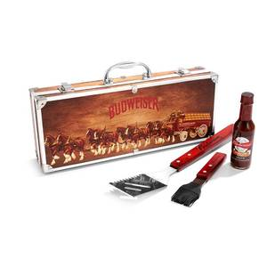 Budweiser Grilling Suitcase Christmas Gift Set, 4 Pieces