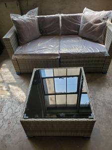 Outsunny Wicker Gray Patio Loveseat and Coffee Table