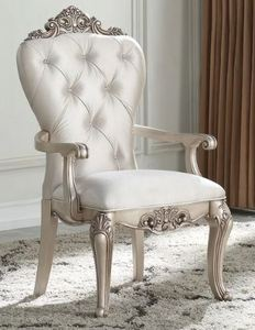 Gracewood Hollow Kashiwagi Antique White Armchairs with Cream Fabric Upholstery (Set of 2)