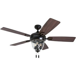 "Honeywell Glencrest 52"" Craftsman Industrial Oil Rubbed Bronze LED Outdoor Ceiling Fan with Light"