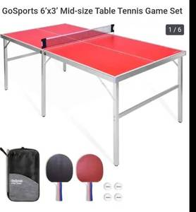 GoSports 6' x 3' Mid-Size Table Tennis Game Set | Indoor / Outdoor Portable Table Tennis Game with Net, 2 Table Tennis Paddles and 4 Balls, Red