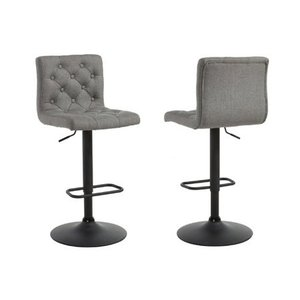 Adjustable Height Button Tufted Fabric Bar Stool, Grey (set of 2)