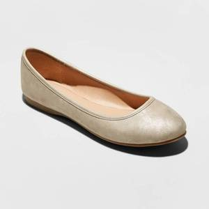 Women's Everly Wide Width Faux Leather Round Toe Ballet Flats - Universal Thread Gold 11W