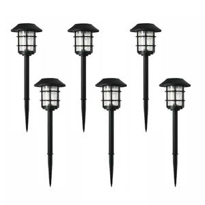 Hampton Bay Solar Black Outdoor Integrated LED 3000K 10-Lumens Metal and Glass Landscape Pathway Light Set (6-Pack)