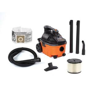 4 Gal. 5.0-Peak HP Portable Wet/Dry Shop Vacuum with Filter, Hose and Accessories, Oranges/Peaches