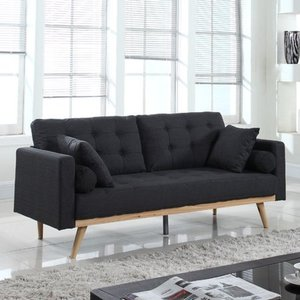 MID CENTURY MODERN TUFTED LINEN SOFA, Dark Grey by Madison Home USA Sofa