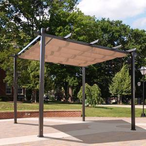 Outsunny 10' x 10' Aluminum Retractable Pergola with Canopy Outdoor Gazebo for Backyard