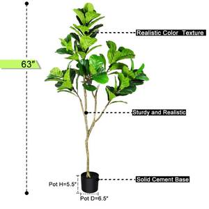 Crosofmi Fiddle Leaf Fig Plant Artificial Tree - 5'3""