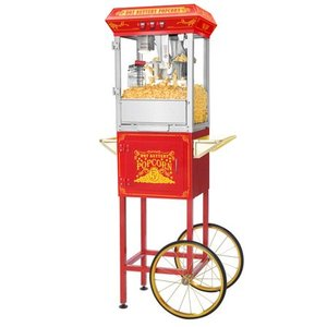 8 Ounce Full Popcorn Popper Machine with Cart in Red