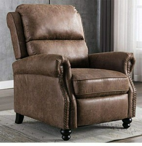 Recliner Chair, Arm Chair Push Back Recliner with Rivet Decoration, Cholocate Retail: $436.49