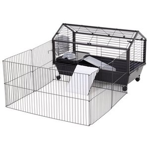 "PawHut Rolling Metal Rabbit, Guinea Pig, or Small Animal Hutch Cage with Main House and Run, 35"" L Retail: $85.99"