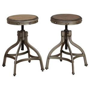 Simple Living Decker Distressed Wood Adjustable Height Swivel Stool (Set of 2) Retail: $137.49