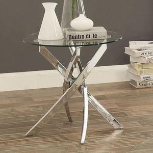 "Laila Collection CM4241E-TABLE 22"" End Table with 10mm Tempered Glass Top Criss-Cross Base and Chrome"