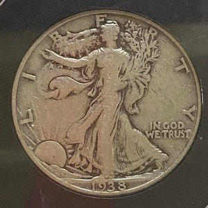 1938 - PCS Centennial Silver Coin - Walking Liberty Half Dollar