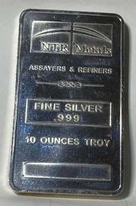 Heavy NTR SILVER BAR - .999 Fine Silver - 10 oz