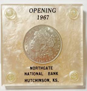 1921 Morgan Silver Dollar - 1967 Advertising NORTHGATE National Bank - Hutchinson, KS