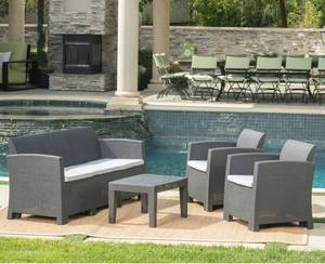 Jacksonville 4-Piece Outdoor Wicker Chat Set by Christopher Knight Home- Fully Assembled