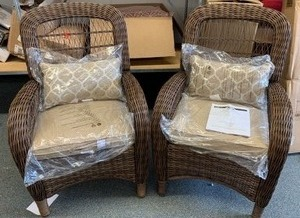 2pk Beacon Park Wicker Captain Chair (matches lot 6015, 6017, 6018) - RETAIL $409