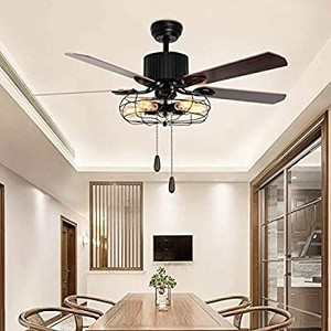 Retro Industrial Ceiling Fan with Light, Tropicalfan 48 inch 5 Wood Reversible Blade Chandelier Fan