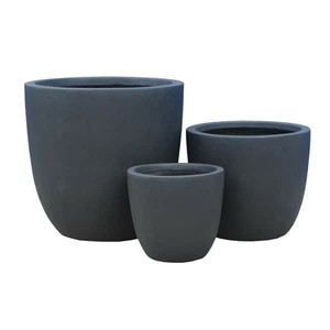 Kante Lightweight Concrete Modern Seamless Outdoor Round Planter, Set of 3, 17 Inch Tall, Charcoal