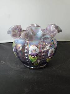 Fenton Purple Opalescent Crimped Rim Hand Painted & Signed Pansies by B. Williams
