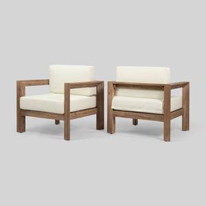 Genser Outdoor Wooden Club Chairs with Cushions (Set of 2) by Christopher Knight Home Retail: $426.49
