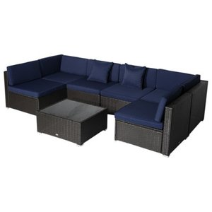 7-piece Modern Rattan Wicker Outdoor Modular Sectional Patio Set Retail: $687.49