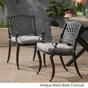 antique matte black outdoor chair Set of 2