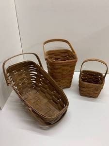 Lot of 3 Longaberger Baskets - Bread Basket (1983) and 2 Square Bottom Baskets (1987 and 1983)