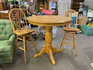 Solid Oak Bar Height Round Table & Two Beautiful Barstools